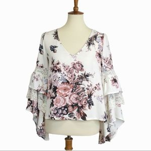 Leith Tiered Angel Wing Sleeve Ivory Floral Blouse